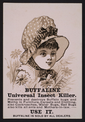 Trade card for Buffaline Universal Insect Killer, location unknown, undated