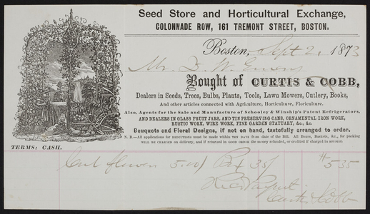 Billhead for Curtis & Cobb, seed store and horticultural exchange, Colonnade Row, 161 Tremont Street, Boston, Mass., dated September 2, 1873