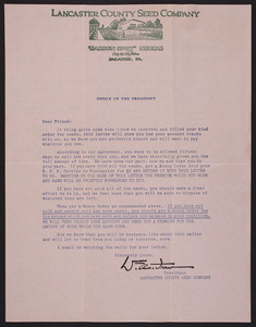 Letter from Lancaster County Seed Company, Garden Spot Seeds, Paradise, Pennsylvania, undated