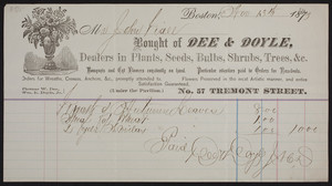 Billhead for Dee & Doyle, dealers in plants, seeds, bulbs, shrubs, trees, &c., no. 57 Tremont Street, Boston, Mass., dated November 13, 1879