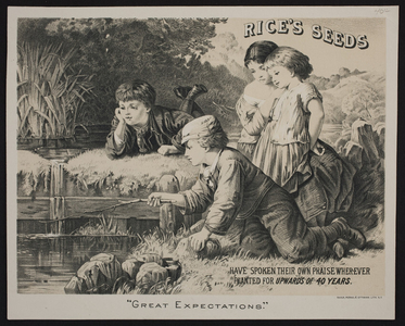 Trade card for Rice's Seeds, location unknown, undated