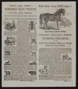American horse doctor, Hunter & Co., Publishers, Hinsdale, N.H., undated
