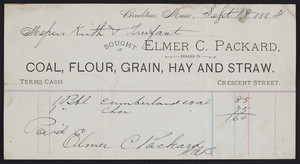 Billhead for Elmer C. Packard, dealer in coal, flour, grain, hay and straw, Crescent Street, Brockton, Mass., dated September 18, 1884