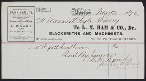 Billhead for L.M. Ham & Co., Dr., blacksmiths and machinists, no. 158 Portland Street, Boston, Mass., dated May 2, 1876