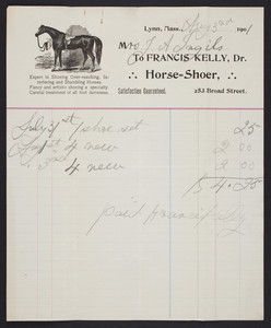 Billhead for Francis Kelly, Dr., horse-shoer, 253 Broad Street, Lynn, Mass, dated August 3, 1901