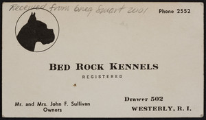 Business card for Bed Rock Kennels, drawer 502, Westerly, Rhode Island, undated