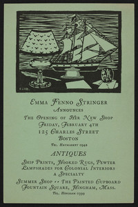 Trade card for Emma Fenno Stringer, antiques, 125 Charles Street, Boston, Mass., undated