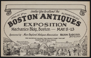 Invitation for Boston Antiques Exposition, Mechanics Bldg., Boston, Mass., May 8-13, undated