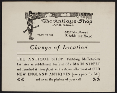 Trade card for The Antique Shop, 682 Main Street, Fitchburg, Mass., undated