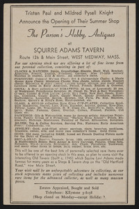 Trade card for The Parson's Hobby, antiques at Squirre Adams Tavern, Route 126 & Main Street, West Medway, Mass., undated