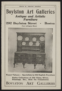 Advertisement for Boylston Art Galleries, antique and artistic furniture, 292 Boylston Street, Boston, Mass., undated