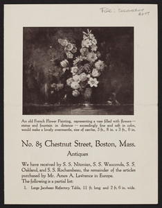 No. 85 Chestnut Street, antiques, Boston, Mass., undated