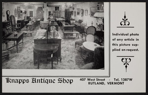 Postcard of Knapps Antique Shop, 407 West Street, Rutland, Vermont, undated