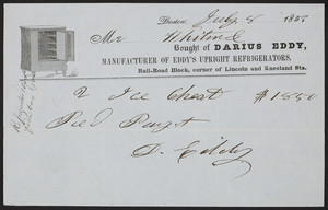 Billhead for Darious Eddy, manufacturer of Eddy's Upright Refrigerators, Rail-Road Block, corner of Lincoln and Kneeland Sts., Boston, Mass., dated July 8, 1853