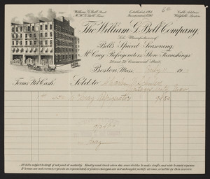 Billhead for The William G. Bell Company, refrigerators, 50 and 52 Commercial Street, Boston, Mass., dated July 11, 1910