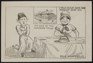 Trade card for Enterprise patent cold handle double pointed smoothing, polishing & girls' irons, Burditt & Williams, 20 Dock Square, Boston, Mass., undated