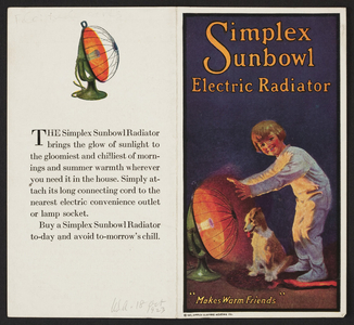 Simplex Sunbowl Electric Radiator, location unknown, 1921