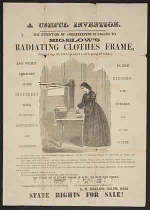Circular for Bigelow's Radiating Clothes Frame, E.R. Bigelow, Salem, Mass., undated