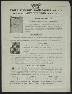 Circular for the Eagle Electric Manufacturing Co., 57 to 79 Hall Street, Brooklyn, New York