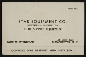 Business card for Star Equipment Co., 136 Lake Ave., Manchester, N.H., undated