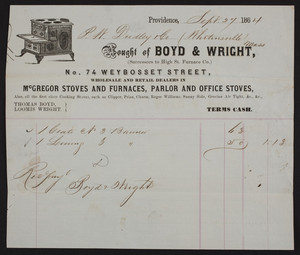 Billhead for Boyd & Wright, McGregor Stoves and Furnaces, parlor and office stoves, 74 Weybosset Street, Providence, Rhode Island, dated September 27, 1864