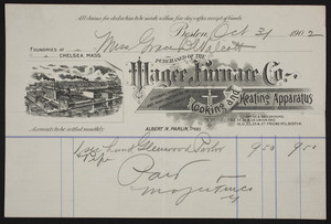 Billhead for Magee Furnace Co., cooking and heating apparatus, 32, 34, 36 & 38 Union and 19, 21, 23, 25 & 27 Friend Sts., Boston, Mass., dated October 31, 1902