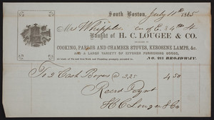 Billhead for H.C. Lougee & Co., dealers in cooking, parlor and chamber stoves, kerosene lamps, &c., South Boston, Mass., dated July 11, 1865