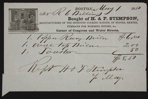 Billhead for H. & F. Stimpson, stoves and furnaces,corner of Congress and Water Streets, Boston, Mass., dated May 1, 1850