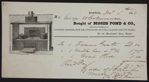 Billhead for Moses Pond & Co., stoves and furnaces, 28 Merchants Row, Boston, Mass., dated December 5, 1845