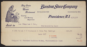 Billhead for Barstow Stove Company, Providence, R.I., dated August 31 1907