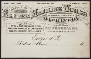Billhead for Exeter Machine Works, 50 Federal St., Boston., Mass., undated