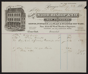 Billhead for Wood, Bishop & Co., iron founders, 41 & 42 West Market Square, Bangor, Maine, dated February 23, 1885