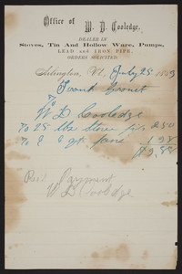 Billhead for Office of W.D. Cooledge, Arlington, Vt., dated July 25, 1883