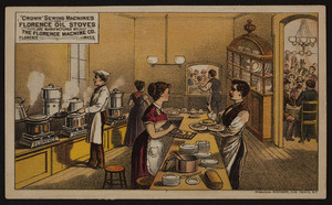 Trade card for Crown Sewing Machines and Florence Oil Stoves, The Florence Machine Co., Florence, Mass., undated