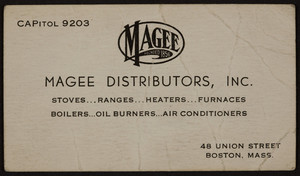Business card for Magee Distributors, Inc., 48 Union Street, Boston, Mass., 1920-1940