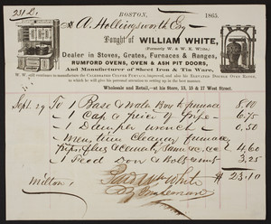 Billhead for William White, stoves, grates, furnaces, 13, 15 & 17 West Street, Boston, Mass., dated 1865