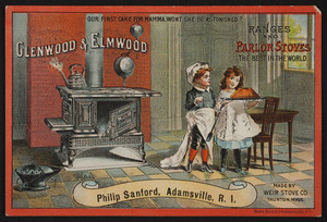 Trade card for Glenwood & Elmwood ranges and parlor stoves, Weir Stove Co., Taunton, Mass., undated