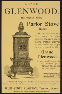 Advertisement for Grand Glenwood, stoves, Weir Stove Company, Taunton, Mass., September 29, 1894