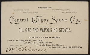 Trade card for Central Oilgas Stove Co., oil, gas and vaporizing stoves, 78 & 80 Washington St., Boston, Mass., undated
