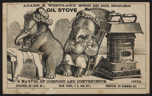Trade card for Adams & Westlake improved wire gauze, non-explosive oil stove, 45 Summer Street, Boston, Mass., undated