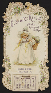 Trade card for Glenwood Ranges, Cades & Rann, Island Pond, Vermont, November 1899