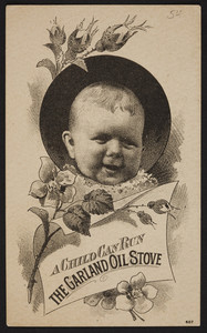 Trade card for Garland Oil Stove, Barstow Stove Co., 56 Union Street, Boston, Mass. and sold by F.B. Stevens, 75 Market Street, Lynn, Mass., undated