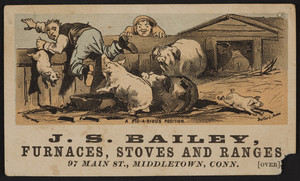 Trade card for J.S. Bailey Furnaces, Stoves and Ranges, 97 Main St., Middletown, Conn., undated