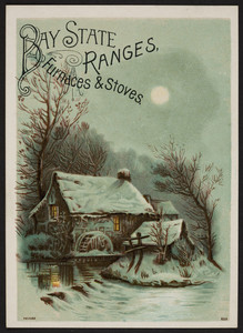 Trade card for Bay State Ranges, Furnaces & Stoves, manufactured by the Barstow Stove Co., 56 Union Street, Boston, Mass. and sold by S.A. Peck, Ludlow, Vt., 1887