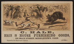 Trade card for C. Hale, dealer in house furnishing goods, 198 Main Street, Middletown, Conn., undated