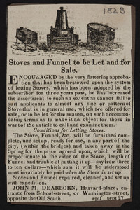 Advertisement for John M. Dearborn, stoves and funnels, Harvard Place, entrance from School Street or Washington Street, Boston, Mass., September 27, 1823