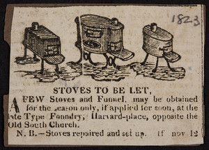 Advertisement for the Plate Type Foundry, stoves, Boston, Mass., November 12, 1823
