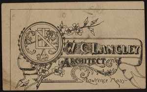 Trade card for W.C. Langley, architect, Lawrence, Mass., undated