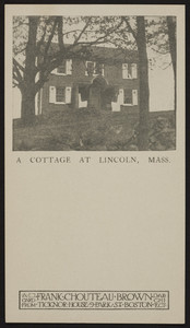 Trade card for Frank Chouteau Brown, architect, Ticknor House, 9 Park St., Boston, Mass., undated