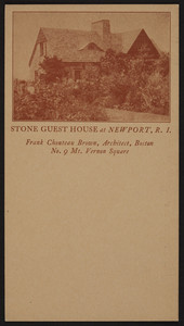 Trade card for Frank Chouteau Brown, architect, No. 9 Mt. Vernon Square, Boston, Mass., undated